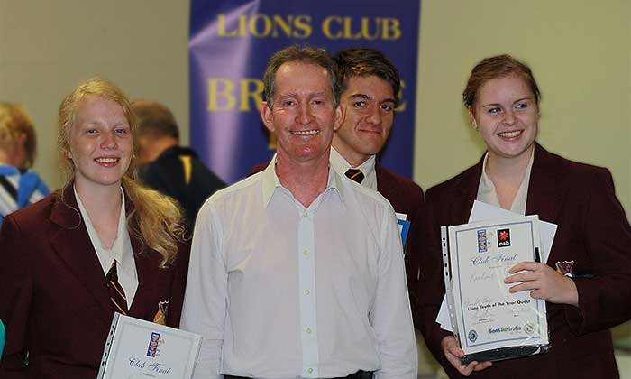 Stephen Outram with winning students in Lions speaking competition